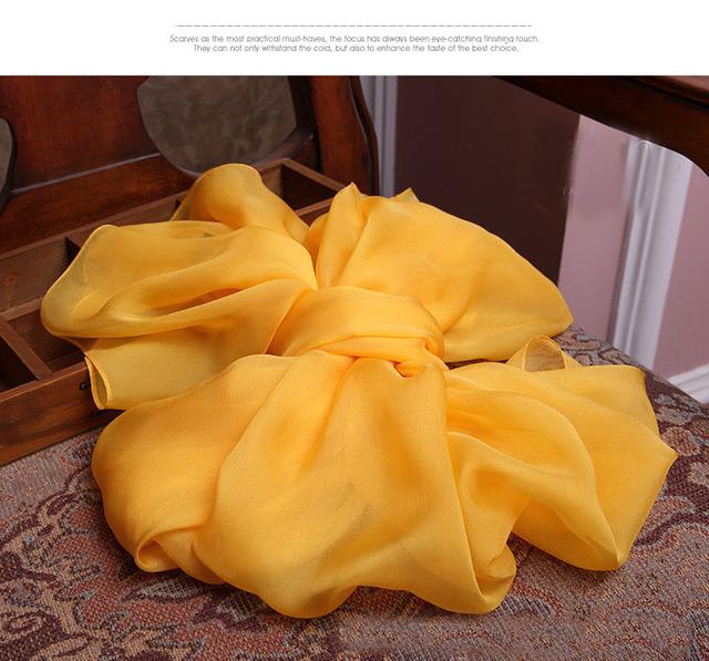 Mulheres franja pendão 100% lenço De Seda bandana tubos de tamanho Grande Longo Gengibre Cor Amarela da Menina lenços cobertor cobertor Macio lenços