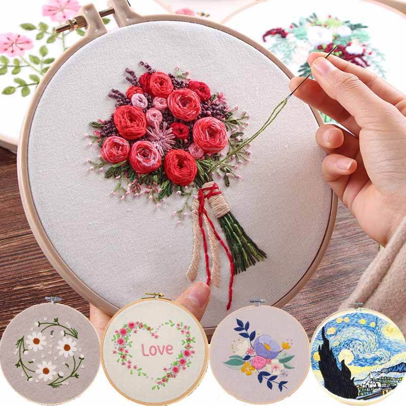Embroidery-Set Frame Crafts Ribbon-Flowers Needlework-Kits Beginner Sewing-Decor Cross-Stitch-Series