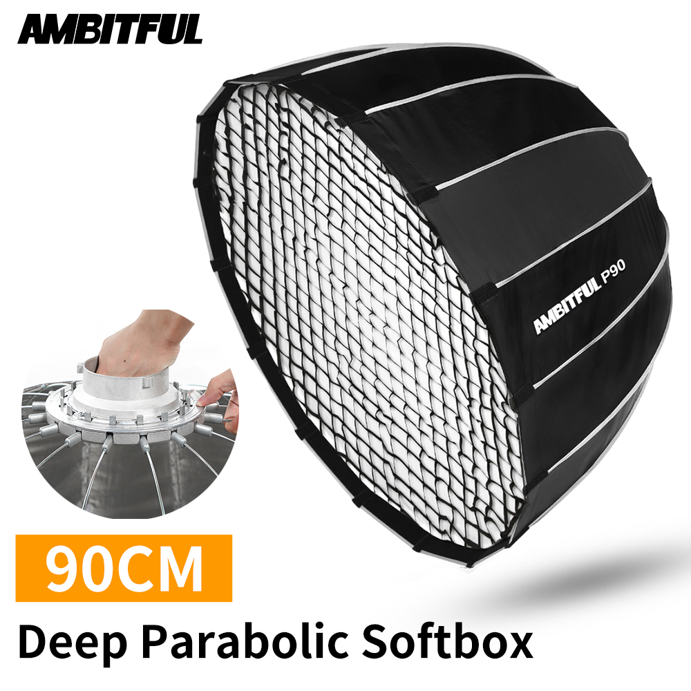 AMBITFUL Portable P90 90CM Quickly Fast Installation Deep Parabolic Softbox with Honeycomb Grid Bowens Flash Speedlite