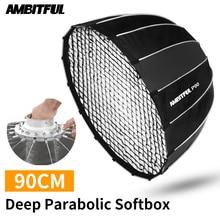AMBITFUL แบบพกพา P90 90 ซม.ได้อย่างรวดเร็วการติดตั้งอย่างรวดเร็ว Deep Parabolic Softbox Honeycomb Grid Bowens แฟลช SPEEDLITE Softbox