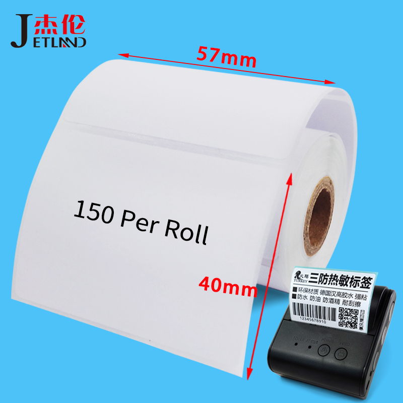 Direct Thermal Label Stickers, 10 Rolls , Core 13mm,OD 40MM, Sutible for Bluetooth Thermal Labeller 40x30 57x40 57x30 57x20