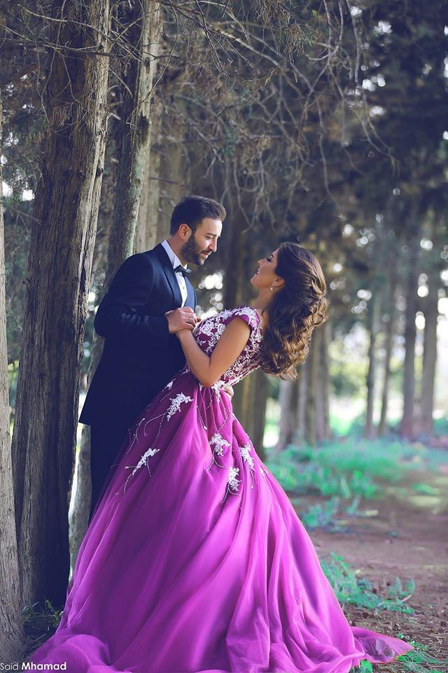 A Line Charming Purple Arab Muslim Appliques Long Wedding Dresses ...