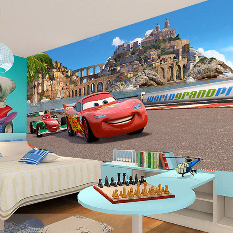 custom 3d stereo cartoon racing cars photo wallpaper for childrens room kindergarten bedroom wall decorate non
