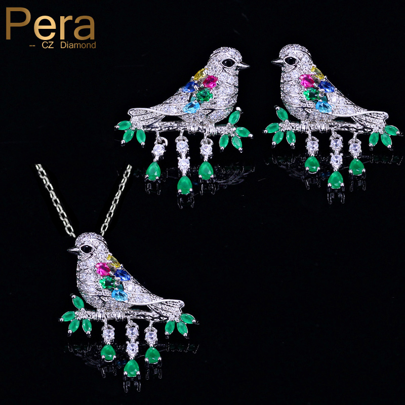 Pera Unique Fashion Women Bird Design Sterling Silver 925 Jewelry Big Green Stone Animal Shape Drop Necklace Earrings Set J272