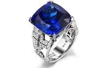 Люкс 3 карат кольцо из стерлингового серебра 925 Танзанит кольцо с бриллиантом сапфир Свадебные Обручальное кольцо для женщин