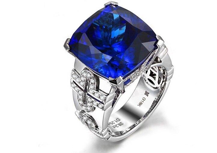Люкс 3 карат 925 Серебряное кольцо танзанит Диамант Кольцо Сапфир Обручальное Любовь кольцо для женщин