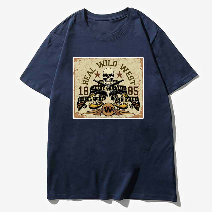 Real wild west Vintage casual style 100% cotton t shirt patched cloth design tee