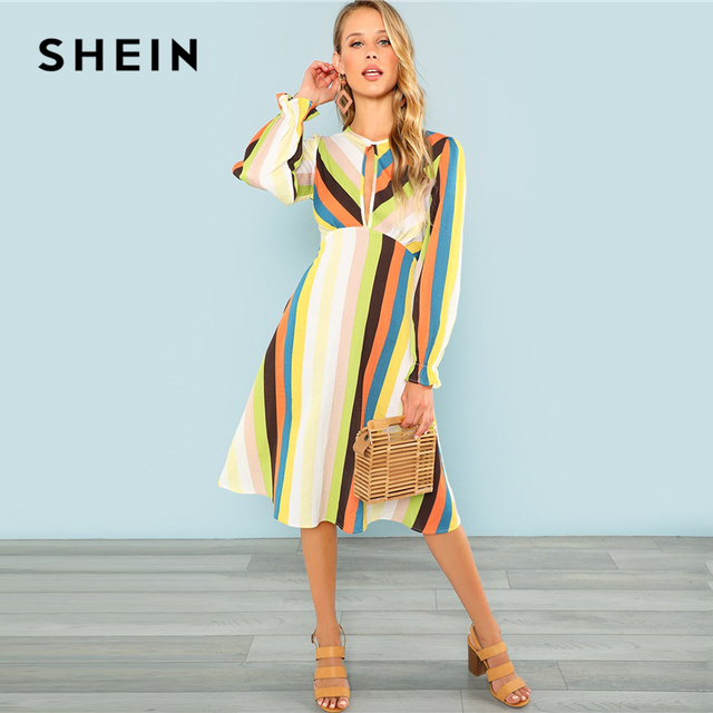 e95484290be SHEIN Multicolor Ruffle Cuff Striped Dress Bohemian Fit and Flare High  Waist A Line Dresses Women Autumn Beach Vacation Dress