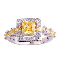 Pretty Style Twinkling Princess Cut Citrine White Sapphire 925 Silver Ring Size 6 7 8 9 10 Women Jewelry Wholesale Free Shipping