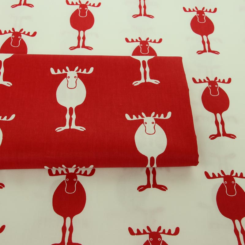 100% cotton twill textile white red cartoon Christmas elk fabric for DIY bedding handwork tablecloth patchwork craft decoration