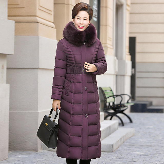 Winter Jacket New middle-aged Long section Cotton Outerwear Thickening Hooded Fur collar Cotton Parkas Large size L-5XL DD280 2
