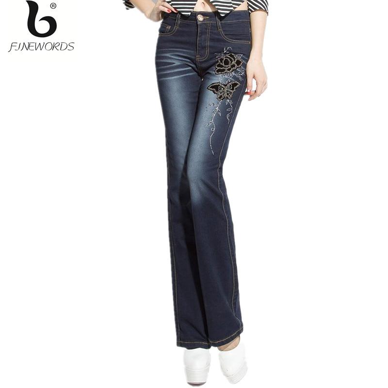 ФОТО FINEWORDS 2017  Folk Style Fashion Flower Pattern Black Handmade Embroidered Denim Jeans Women Vintage Boot Cut Mom Flare Pant