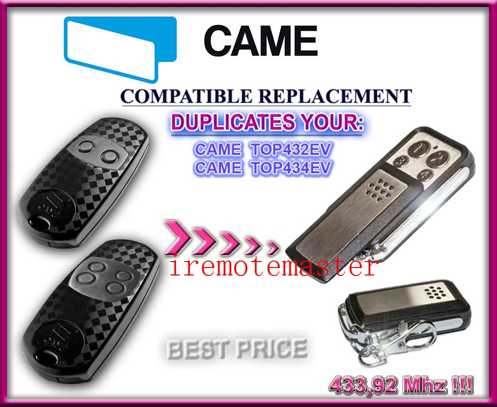 CAME TOP432EV / TOP434EV CAME Garage Remote control Cloning Universal Electric Gate Fob 433mhz fixed code