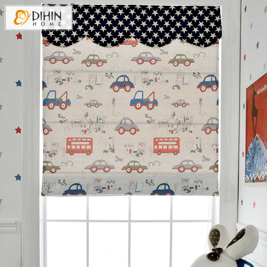 Free Shipping Cartoon Cars Lovely Curtains For Boy Room Roman Blinds Customized Size Roller Blind