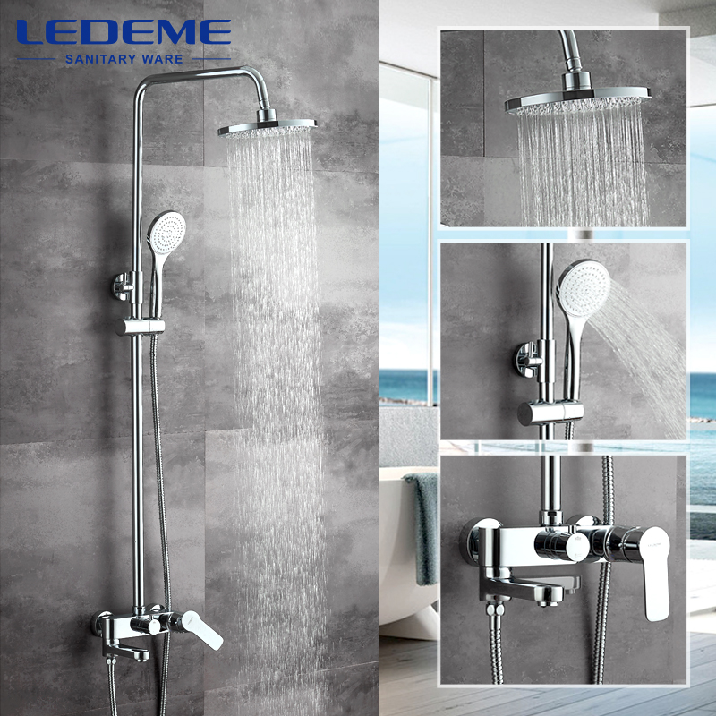 LEDEME 1 set Bathroom Rainfall Shower Faucet Set Mixer Tap With Hand Sprayer Bath Wall Mounted Chrome L2407 wholesale and retail wall mounted thermostatic valve mixer tap shower faucet 8 sprayer hand shower