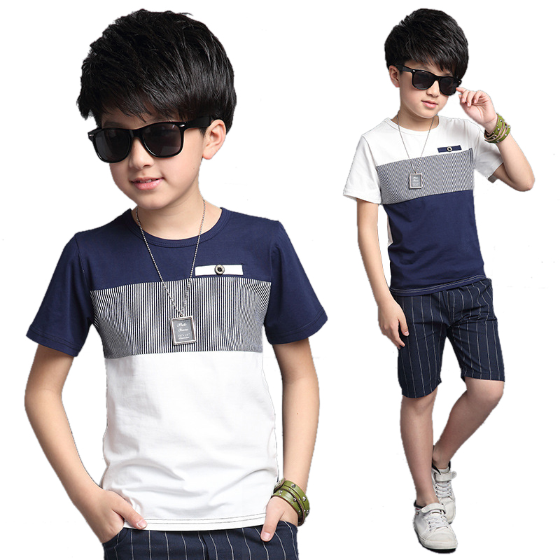Summer boy leisure suit shorts stitching two pieces sets kids 5 8 13 years old clothes baby boy set clothes teenage cotton suit free shipping 100%new and original skm75gd124d