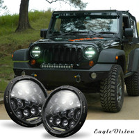 Round 300W Total Car LED Headlights Hi/Lo 97 18 For JEEP JK TJ LJ Wrangler 7Inch 2019 New Arival Hot Sale Dropshipping