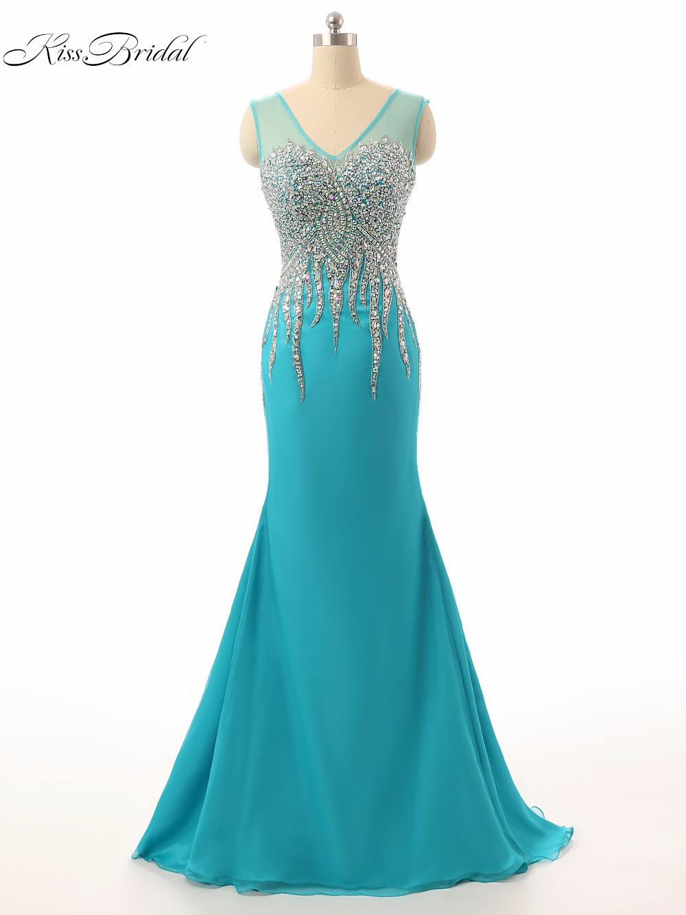 Elegant Long Prom Dresses 2017 V-Neck Sleeveless Backless Beaded Crystal Formal Evening Party Special Occasion Dresses