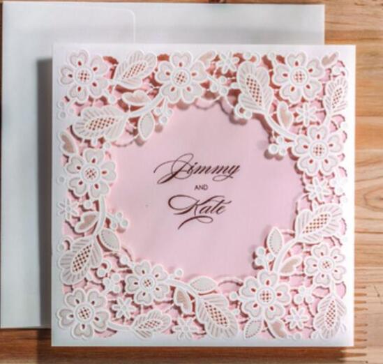 Baby Pink Frame Cartões Do Convite Casamento Corte A Laser Convites De Festa