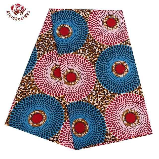 2019 Ankara Polyester Phi In Sáp Vải Binta Sáp Thực Chất Lượng Cao 6 sân Vải Phi cho Đảng Dress PL536