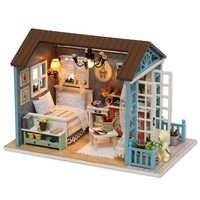 CUTEBEE muñeca casa miniatura FAI DA TE casa de muñecas con muebles de casa de madera juguetes para niños Regalo de Cumpleaños z07
