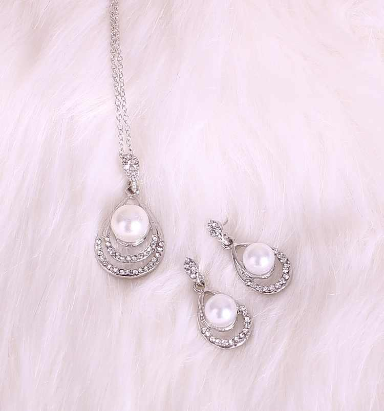 2019 New Hot Fashion Bride Wedding Party Simulated-pearl Crystal Water Drop Chokers Necklace/Drop Earrings For Women Jewelry Set