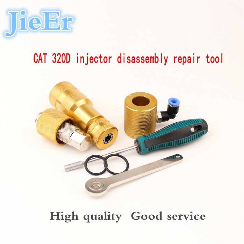 Réparation d'injecteur à rampe commune démonter outil outil de mesure outil de retour d'huile diesel outil de levage d'armature pour CAT 320D