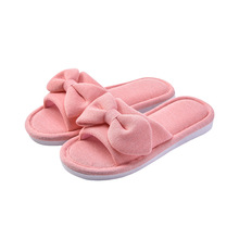 Autumn and winter new cotton slippers female home indoor non-slip thick bottom floor bow couple wear soft drag