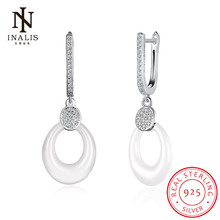 INALIS Simple Round Circline White/Black Ceramic CZ 925 Sterling Silver Dangle Earrings for Women Lady Gift