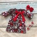Детские день святого валентина детские платья девушки хлопок любовь сердце печати платье дети лук одежда с соответствующими ожерелье и оголовье набор