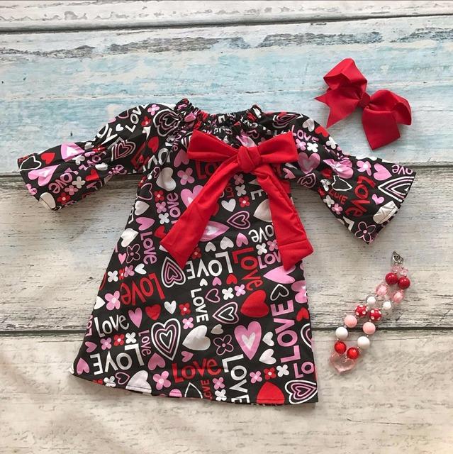 Día de San Valentín del bebé infantil vestidos de niña de algodón del amor del corazón de impresión vestido de los niños se inclinan ropa con el collar a juego y diadema conjunto