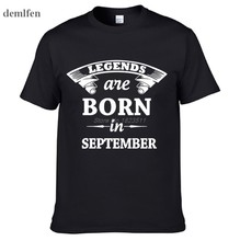 Fashion Legends Are Born In September T-shirt Men Short Sleeve T Shirt Tops Tees Hip Hop(China)
