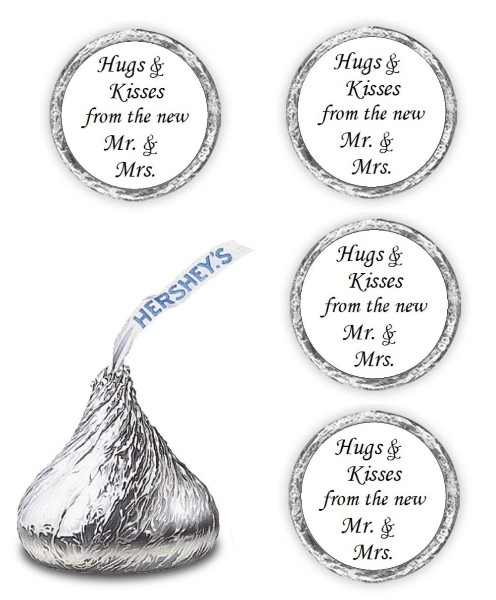 150 Hugs & Kisses from Mr. & Mrs. Hershey Kiss 18mm Personalized ...
