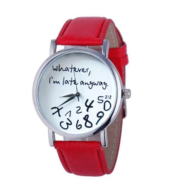 Hot Watch Women Leather Watch Whatever I am Late Anyway Letter Watches Ladies qu