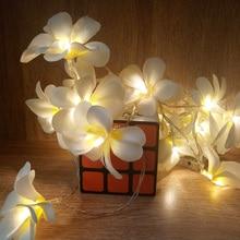 Creative DIY frangipani LED String Lights Аккумуляторное праздничное освещение, праздничное украшение гирлянды вечеринки, украшение спальни