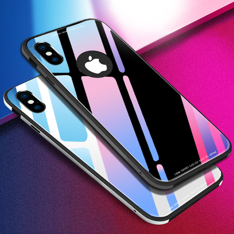 9H Hard Tempered Glass Case For iphone X 8 7 6 6s Funda Luxury Ultra thin Soft Silicone TPU Bumper Cover Clear Glass Phone Cases