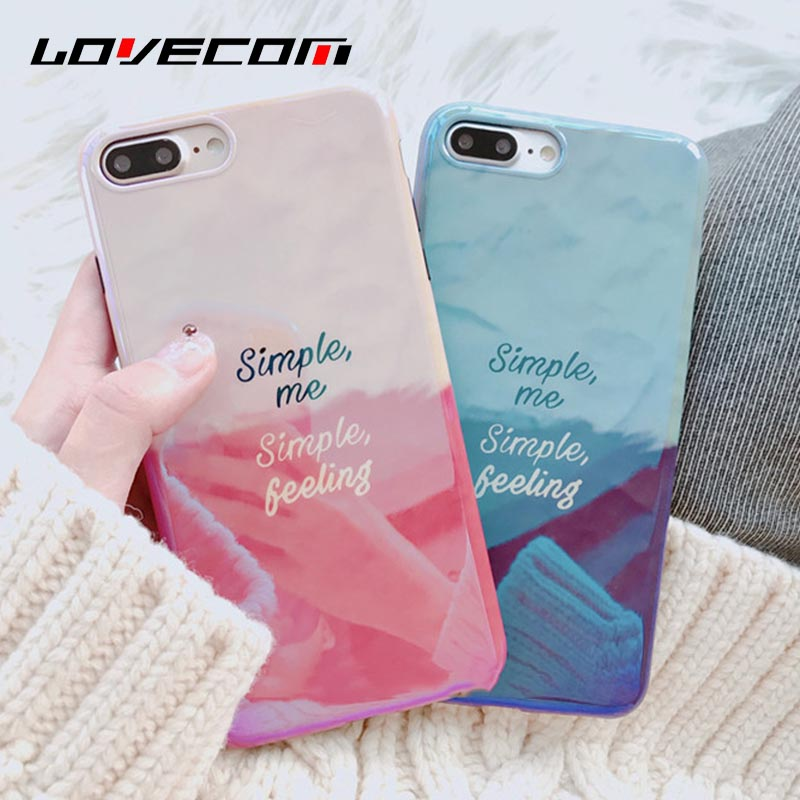 LOVECOM Glossy Gradient Color English Letters Blue Ray Phone Case For iphone X 8 7 6 6s Plus Soft IMD Cover Cases Shells Coque