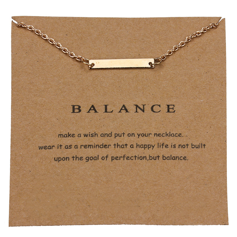 1pc Simple Balance Charm Wish Card Choker Collier Necklaces Links Chains Gold Plate For Women Statement Jewelry Gift image
