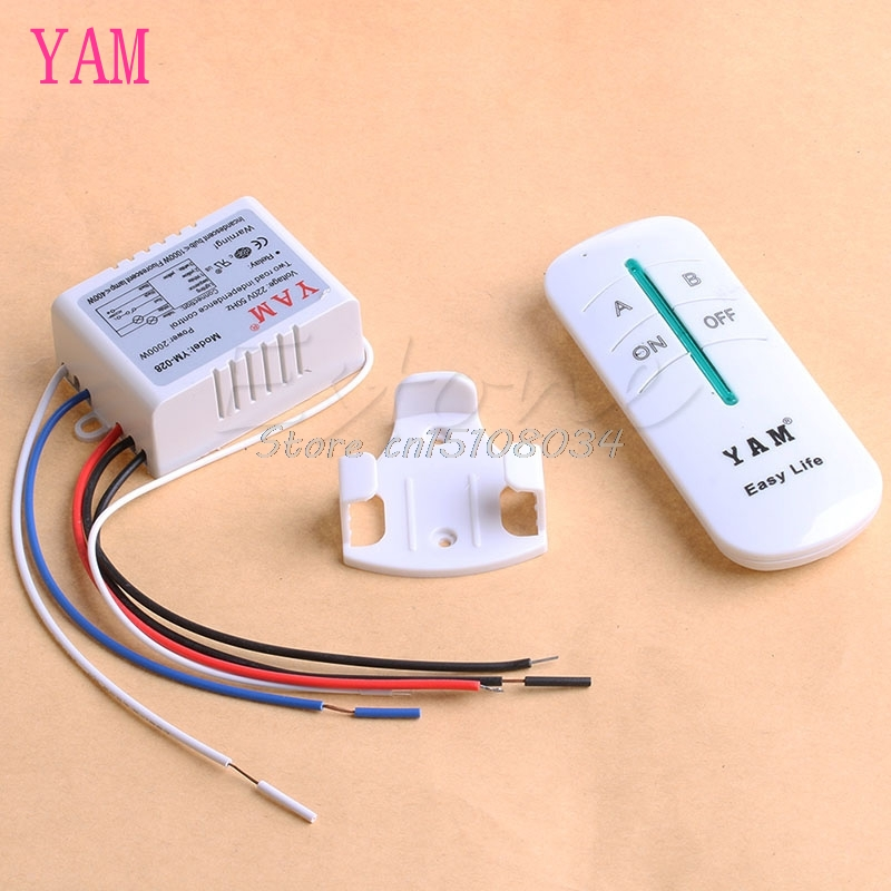 AC 220V ON / OFF 2-Ways Wireless Lamp Remote Remote Switch Switch Receiver Transmitter S08 Velkoobchod a DropShip