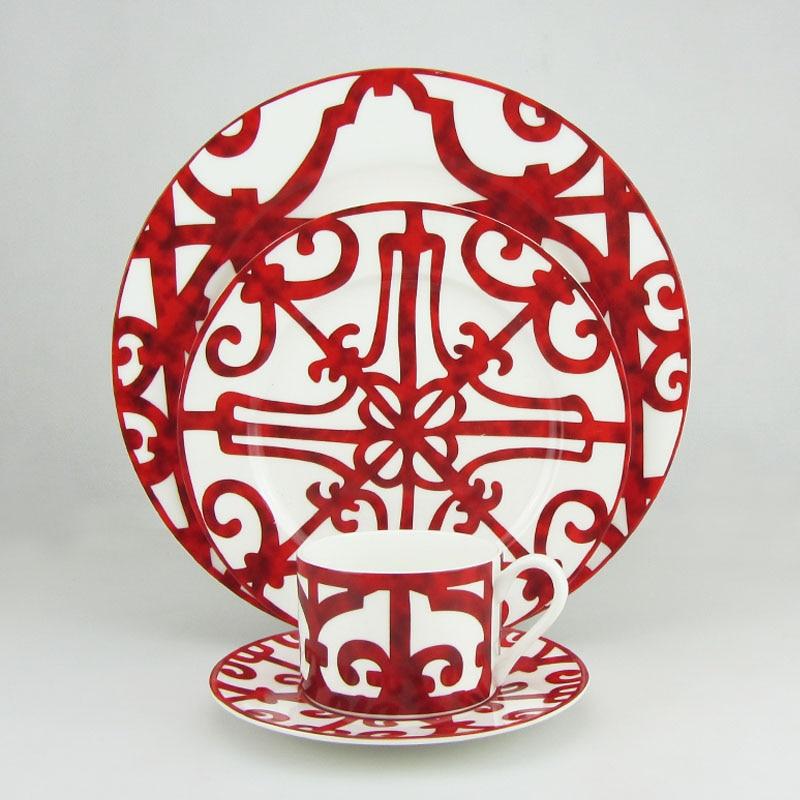 Bone China Dinner Plate Spanish Red Geometric Patterns Dish Art Design Plate Dinnerware Set High Quality Ceramic Craft Tableware