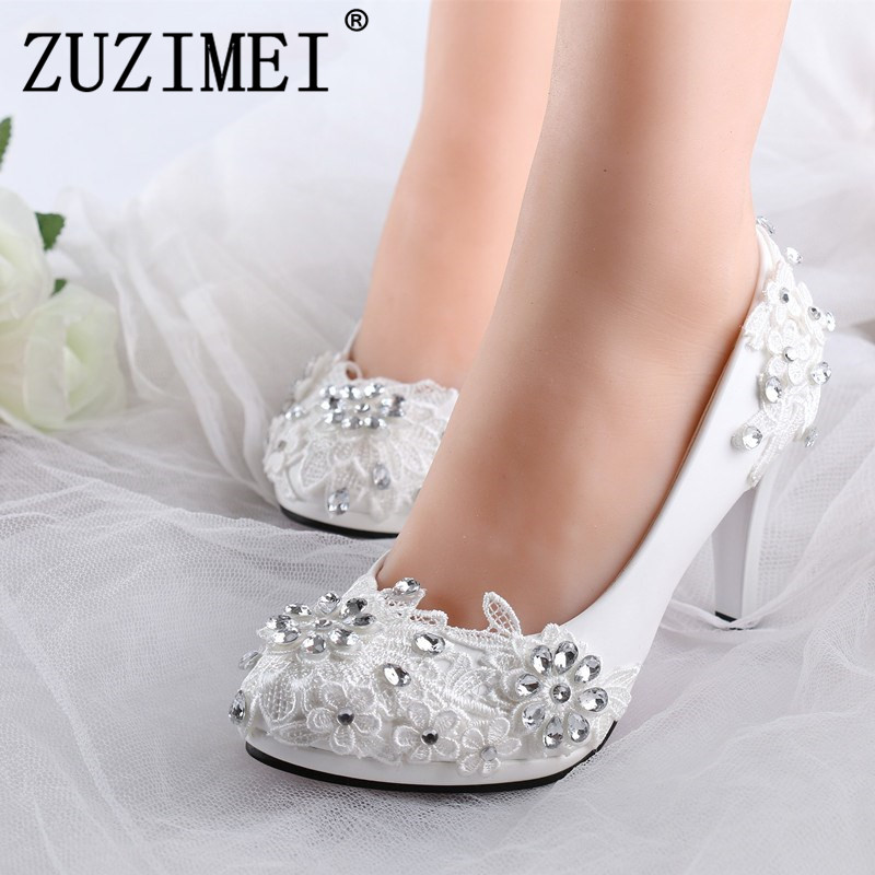 Plus size 34-40 fashion lace wedding shoes white for women handmade bridal shoe comfortable heel platforms brides shoes 2016 handmade fashion 5cm heel height bridal shoes lady dress shoes wedding shoes pearl low heel size 34 to 40 women shoes