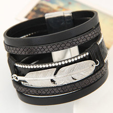 Fashion Alloy Feather Leaves Wide Magnetic Leather bracelets
