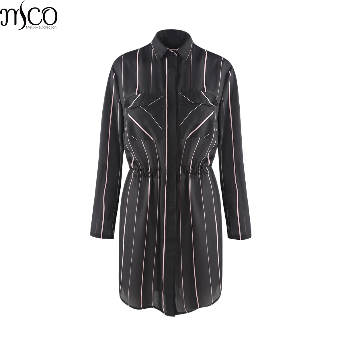 MCO 2018 Spring Simple Tie Waist Plus Size OL Stripe Shirt Casual Oversize Long Office Ladies Blouse Basic Big Women Top 6xl 7xl