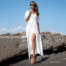 EASTOKES Women Batwing Sleeve Summer Loose Maxi Dress Beach Sundress V Neck Button Belted Solid Vestido Female Casual Dress недорого