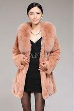 New Womens Winter Solid Long Coat Real Rex Rabbit Fur Parka with Big Fox Fur Collar Overcoat Hip Length Outwear Bowknot LX100158