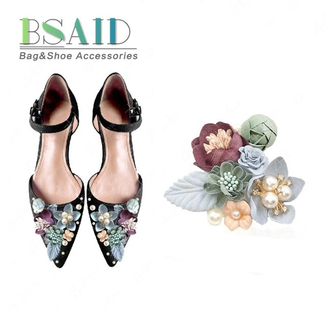 1 Piece Shoe Accessories Crystal Pearl Flower Pasting Shoe Decoration Women  High Heel Shoes Floral Ornament f589bf3c29ea