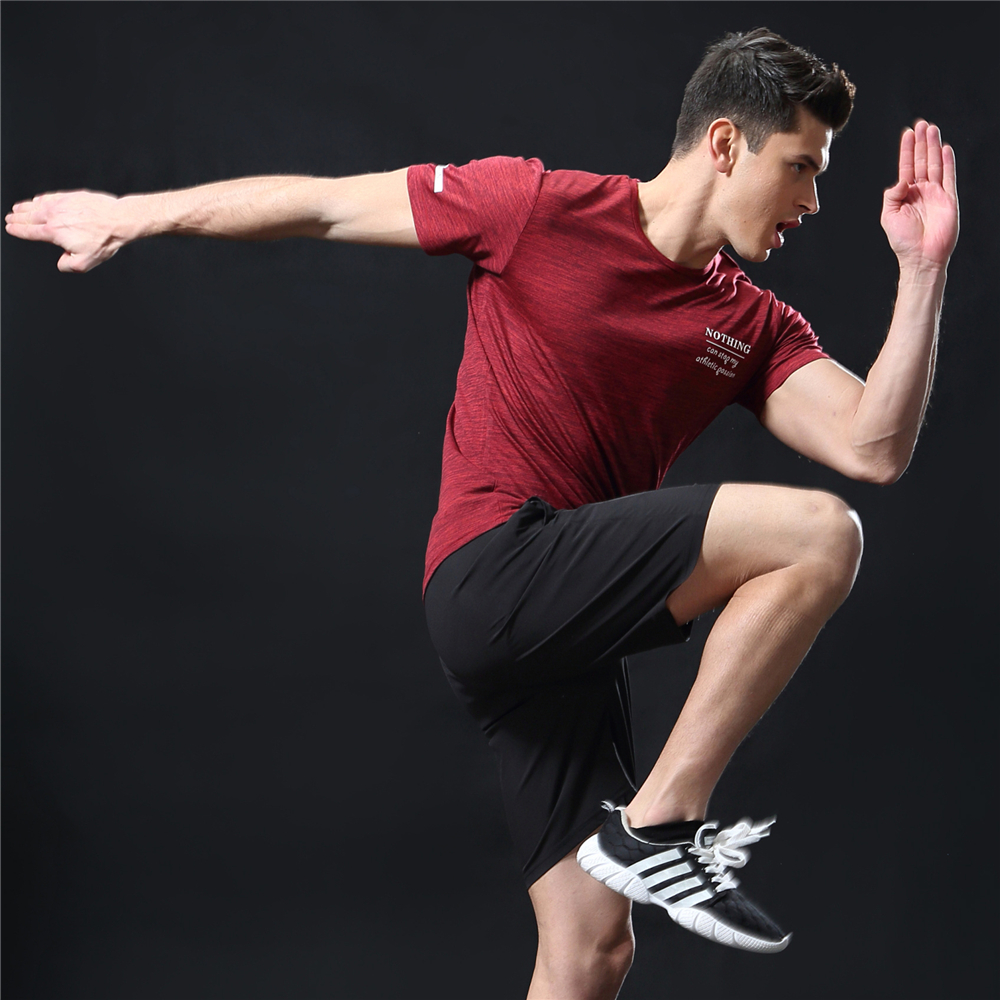 GANYANR Running T Shirt Men Basketball Tennis Sportswear Tee Sport Fitness Gym Jogging Tops Slim Fit quick dry Exercise Training 22
