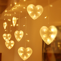 3m*0.65m 120 Led Curtain String Light Heart Shape Holiday Lamp For Christmas Wedding Party Outdoor Garland Decoration JQ