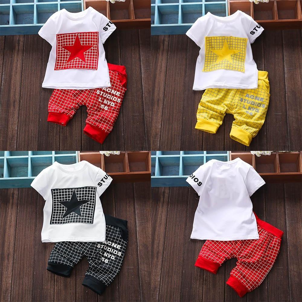 2Pcs Infant Kid Boys Girl Letter Star Print Plaid Tops+Pants Outfits Clothes Set girls clothing children clothes roupas infantil(China)