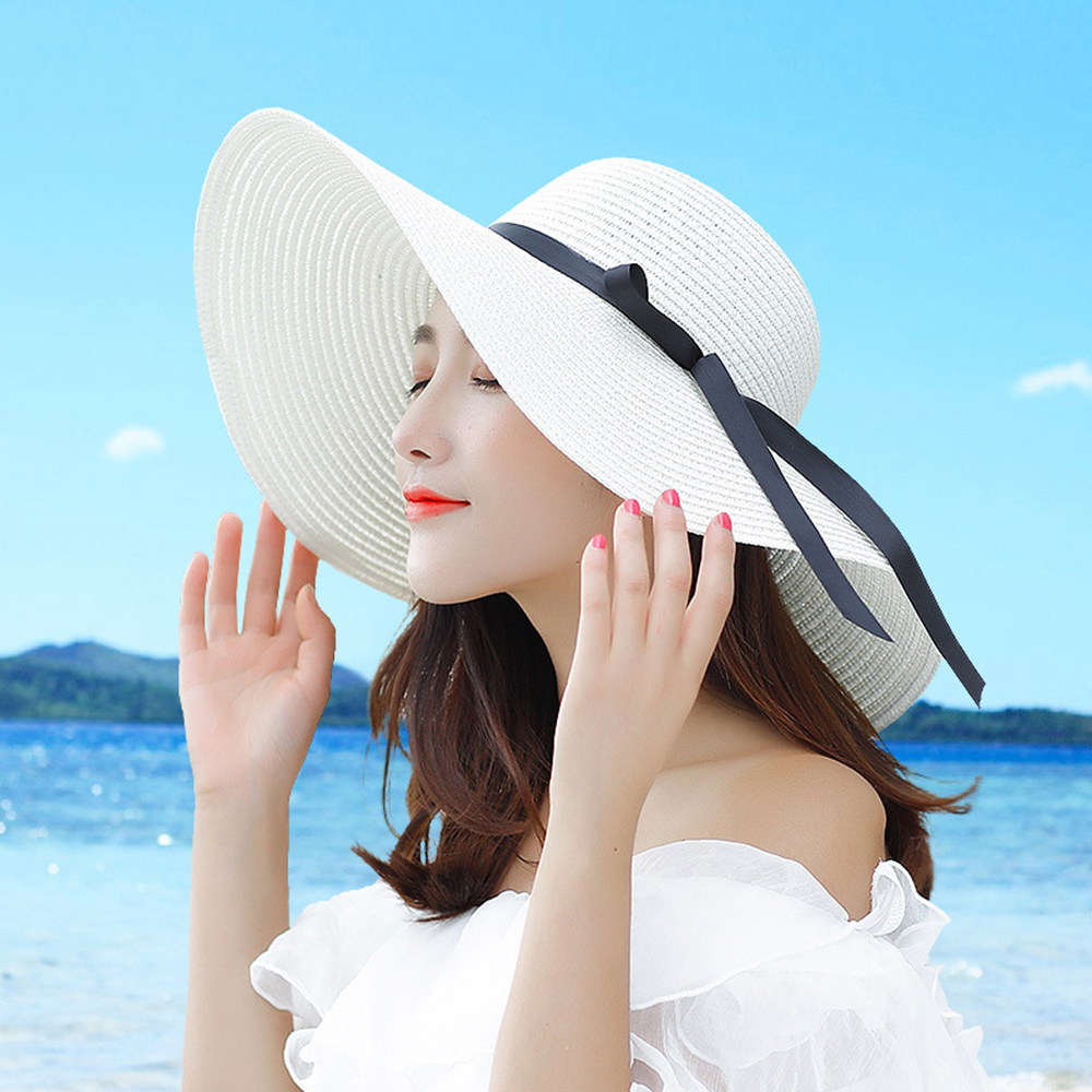 Summer Straw Hat Female Sun Hats Large Coastal Bow Not Korean Fresh Sunscreen Folding Caps  Beach Dome Handmade Outdoors White